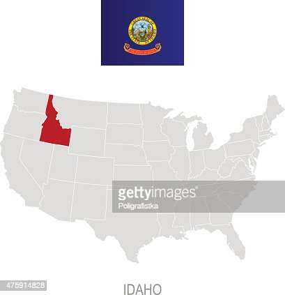 Map Of Idaho Vector Art Getty Images - Us map idaho