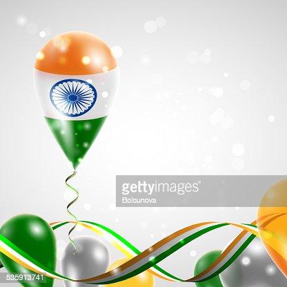 Flag of India on balloon : Vector Art