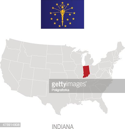 Indiana Map Kit Vector Art Getty Images - Indiana on the us map
