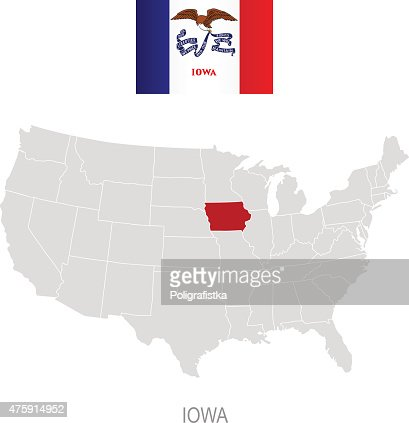 Detailed Vector Map Of Iowa Vector Art Getty Images - Iowa us map
