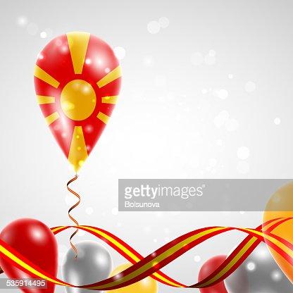 Flag of Macedonia on balloon : Vector Art