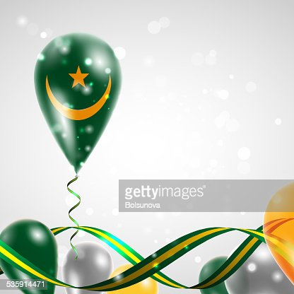 Flag of Mauritania on balloon : Vector Art