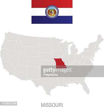 Missouri Map With Location Pins Isolated On White Background - Missouri in us map
