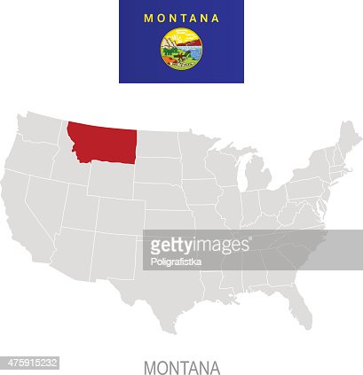 Detailed Vector Map Of Montana Vector Art Getty Images - Montana on the us map