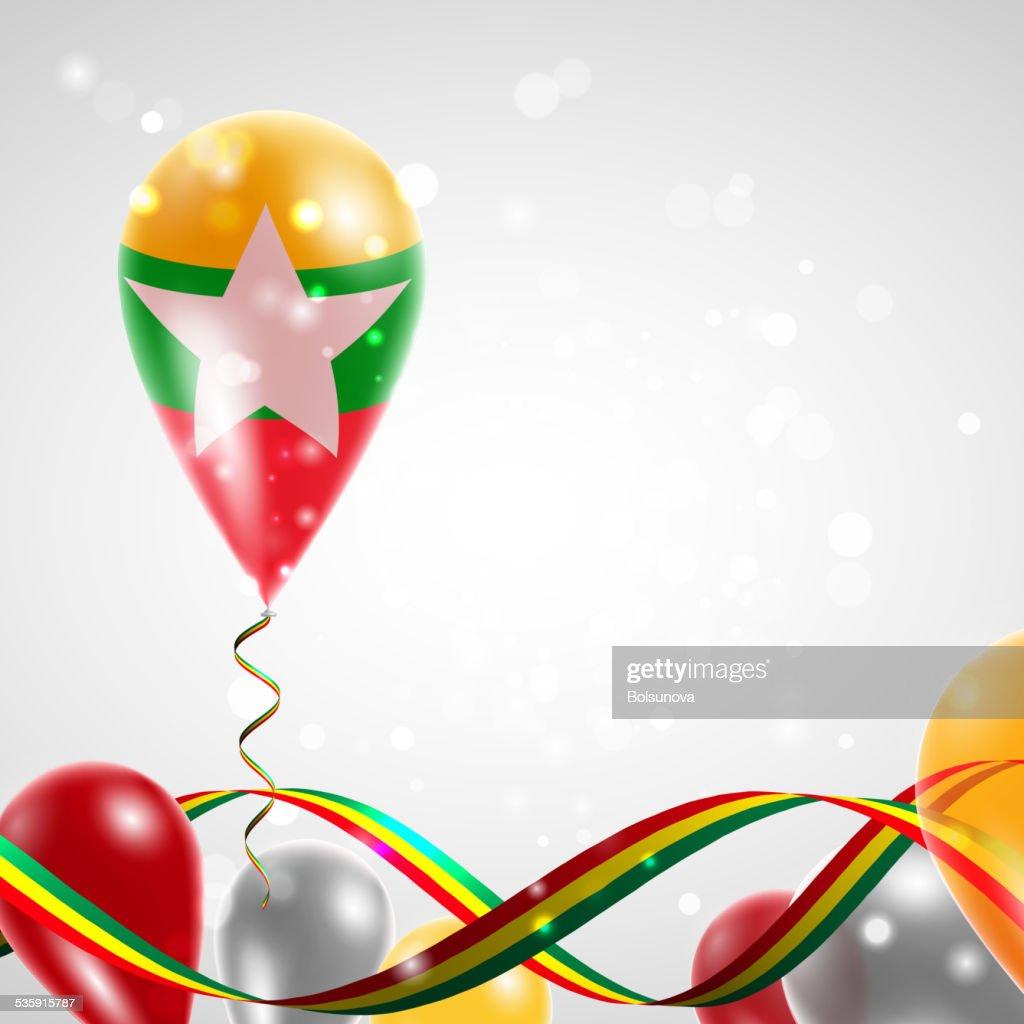 Flag of Myanmar on balloon : Vector Art