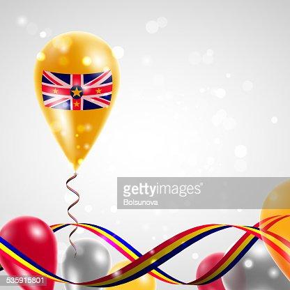 Flag of Niue on balloon : Vector Art