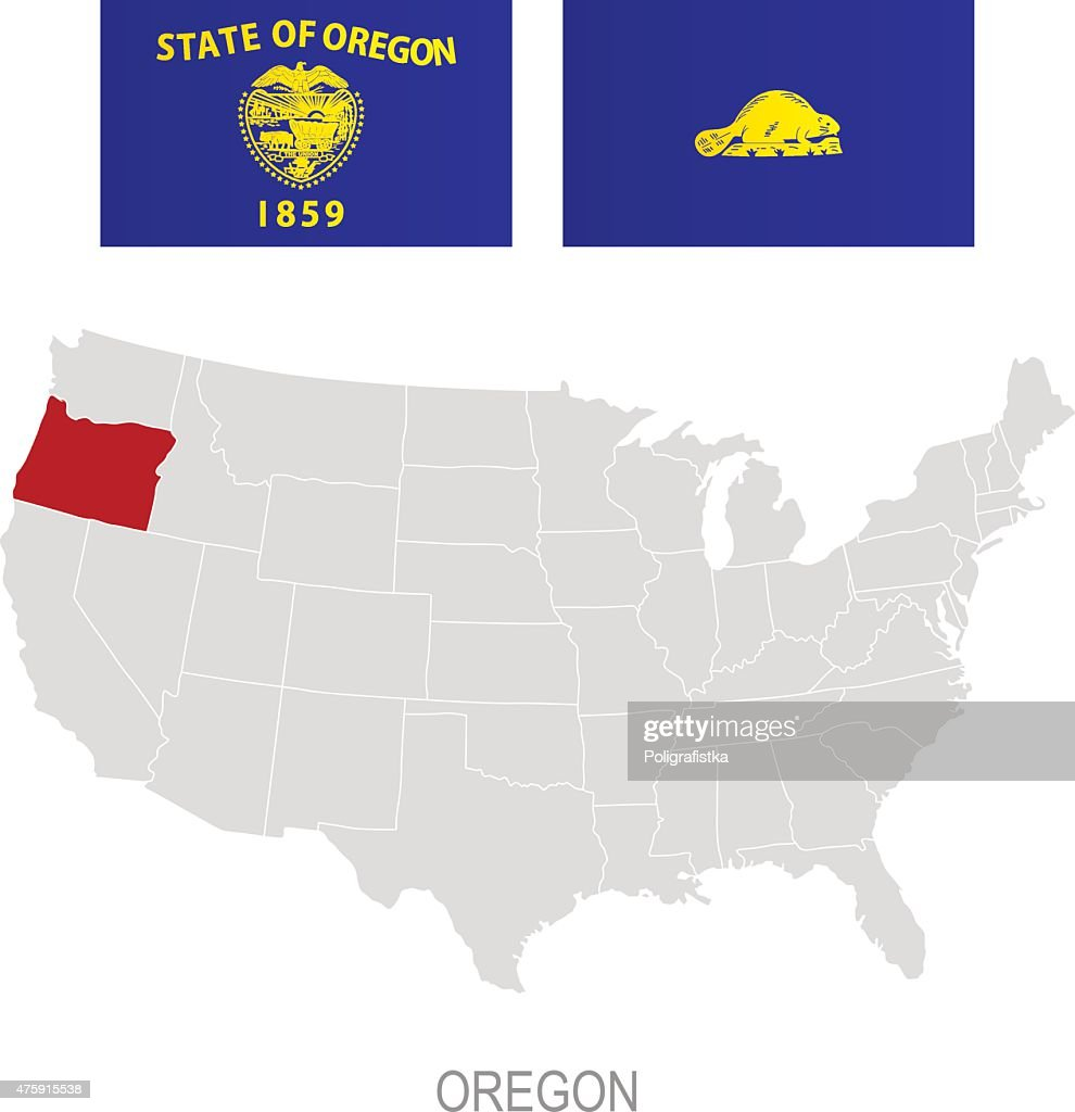 Flag Of Oregon And Location On Us Map Vector Art Getty Images - Oregon on the us map