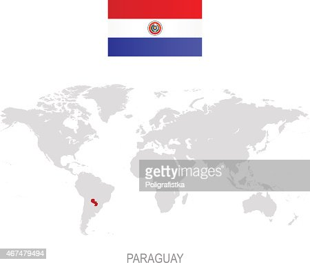 Green Map Of Paraguay States Cities And Flag Vector Art Getty Images - Map of paraguay world