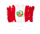 """Flag of Peru. Vector illustration on white background. Beautiful brush strokes. Abstract concept. Elements for design.""""n"""