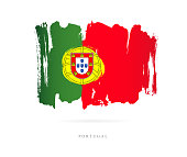 Flag of Portugal. Vector illustration on white background. Beautiful brush strokes. Abstract concept. Elements for design.