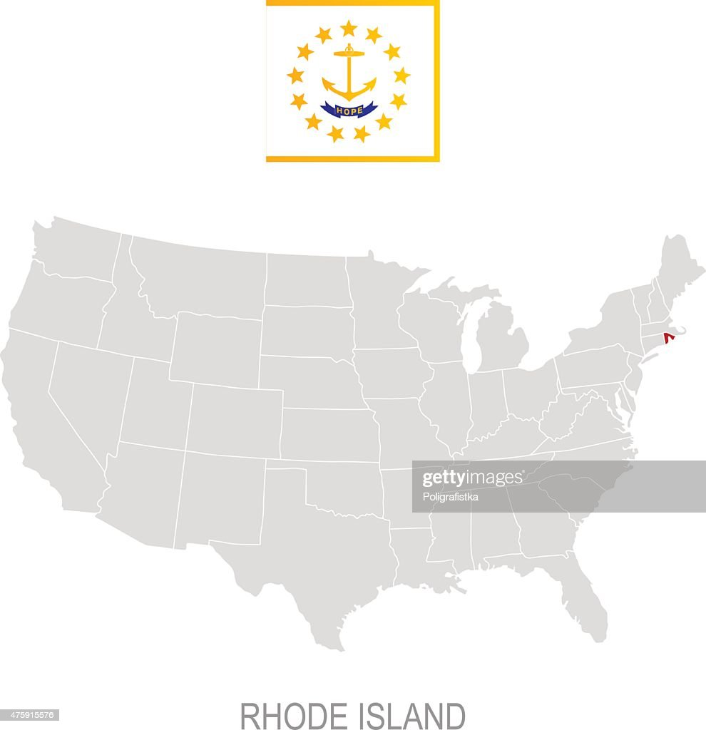 Flag Of Rhode Island And Location On Us Map Vector Art Getty Images - Us map rhode island