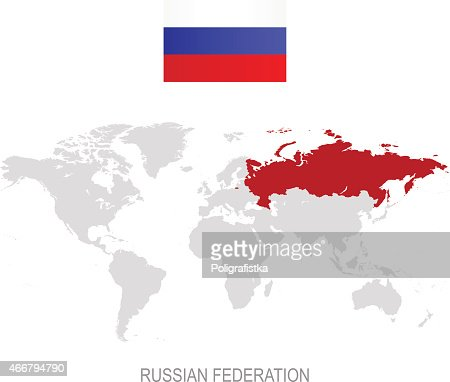 Vector Map Of Russia And Flag Vector Art Getty Images - Russia on a world map