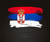 Flag of Serbia. Vector illustration on a black background. Beautiful brush strokes. Abstract concept. Elements for design.