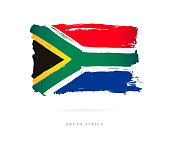 Flag of South Africa. Vector illustration on white background. Beautiful brush strokes. Abstract concept. Elements for design.