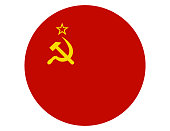 Vector illustration of the round flag of Soviet Union