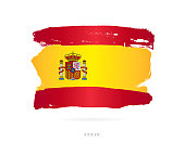 Flag of Spain. Vector illustration on white background. Beautiful brush strokes. Abstract concept. Elements for design.