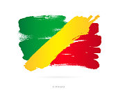 """Flag of the Congo. Vector illustration on white background. Beautiful brush strokes. Abstract concept. Elements for design.""""n"""