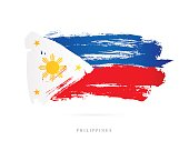 Flag of the Philippines. Vector illustration on white background. Beautiful brush strokes. Abstract concept. Elements for design.