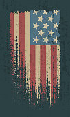 Flag of the USA. Vintage American flag grunge style. Isolated vector illustration on dark background.
