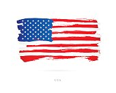 Flag of the USA. Vector illustration on white background. Beautiful brush strokes. Abstract concept. Elements for design.