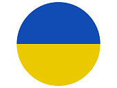 Vector illustration of the round flag of Ukraine