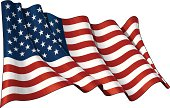 Waving American flag, EPS v.10 File and a 6.8 x 4.4 kpxl top quality JPGs format with clipping path Preview. Transparency is used on the shading layers