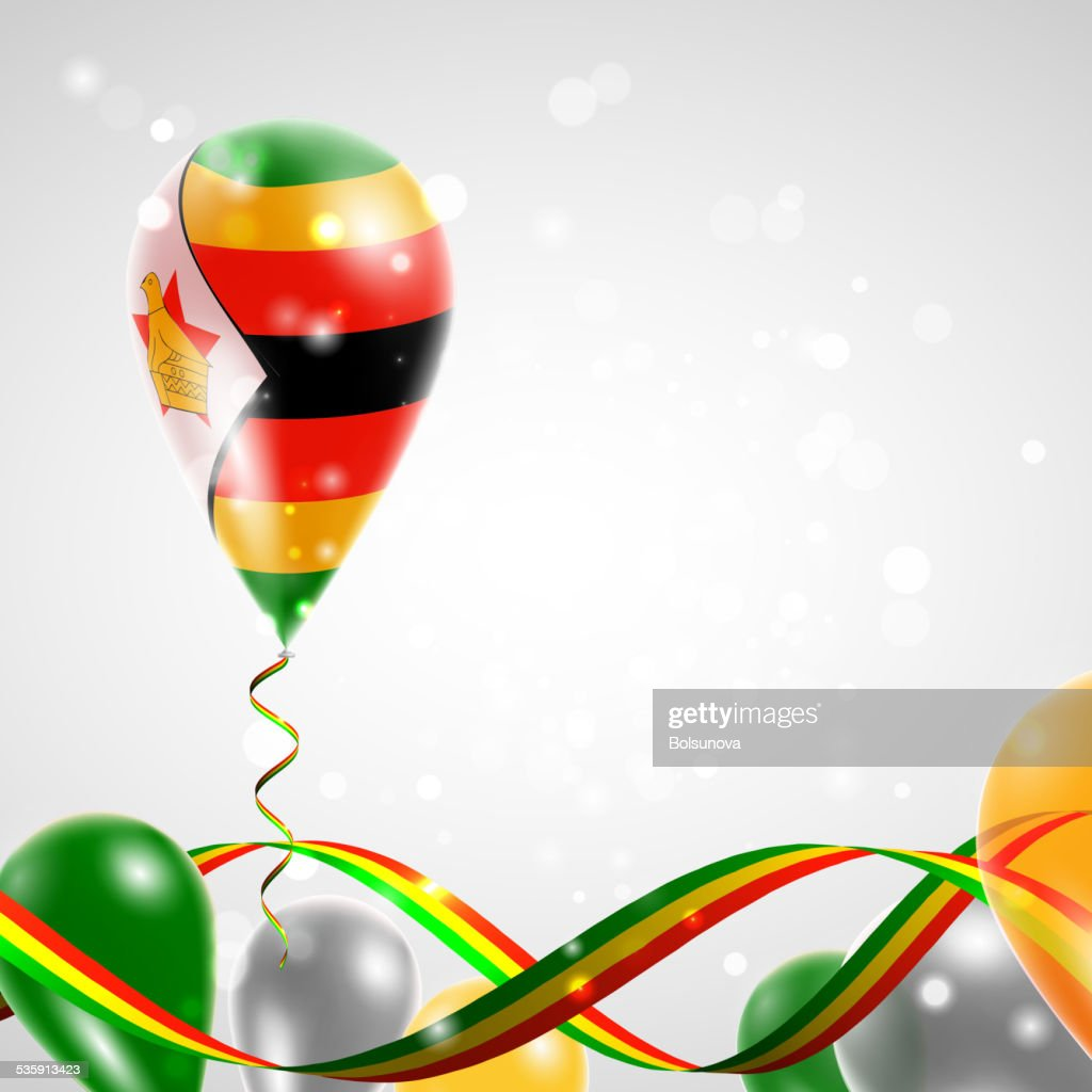 Flag of Zimbabwe on balloon : Vector Art