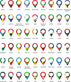 Flags in the form of a pin of African countries with their names written below