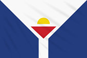 Flag Saint Martin swaying in wind, realistic vector