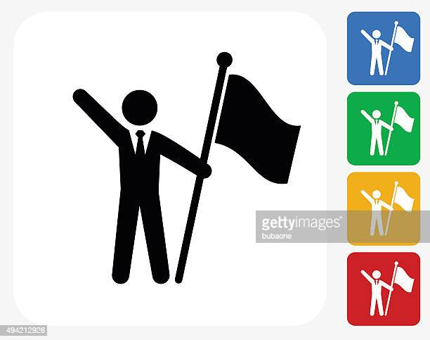 Flag Stick Figure Icon Flat Graphic Design