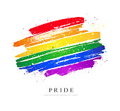 LGBT flag. Vector illustration on white background. Brush strokes drawn by hand. Stop homophobia.