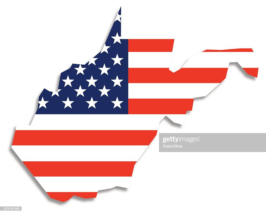 Usa Flag West Virginia Map Vector Art Getty Images - W virginia map