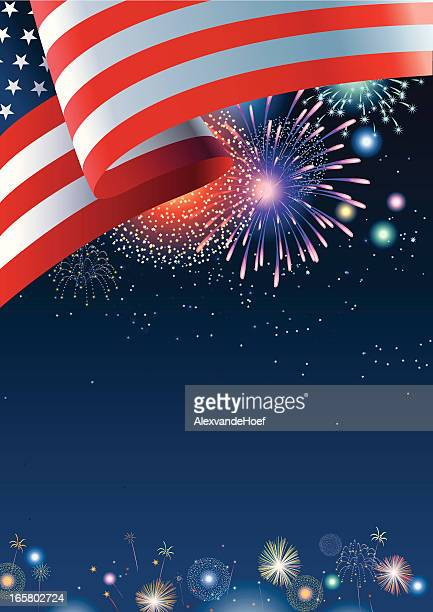 USA flag with fireworks and dark blue night sky