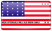 Flags of Bikini Atoll in the form of a magnet on refrigerator with reflections light. Vector illustration