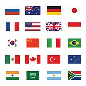 Simple flags icons of the countries in flat style.