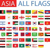 Vector Set of Flat Asian Flags