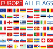 Vector Set of Flat European Flags