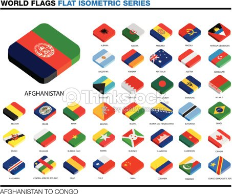 Flags Of The World Ac 3d Isometric Flat Icon Design stock