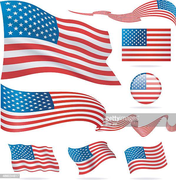 Flags of USA - icon set - Illustration