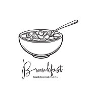 Flakes with milk and berries. Hand draw monochrome icon Breakfast. Vector illustration with linear ink flakes. Sketch retro style.