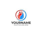 Flame and drop water, cooling and heating logo design. Plumbing, heating, gas supply, air conditioner, service and repair vector design. Renewable energy source illustration