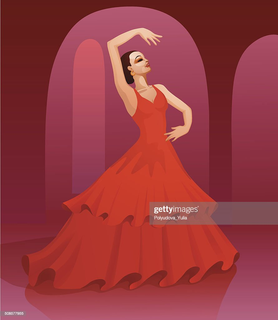 Flamenco dancing girl : Vector Art