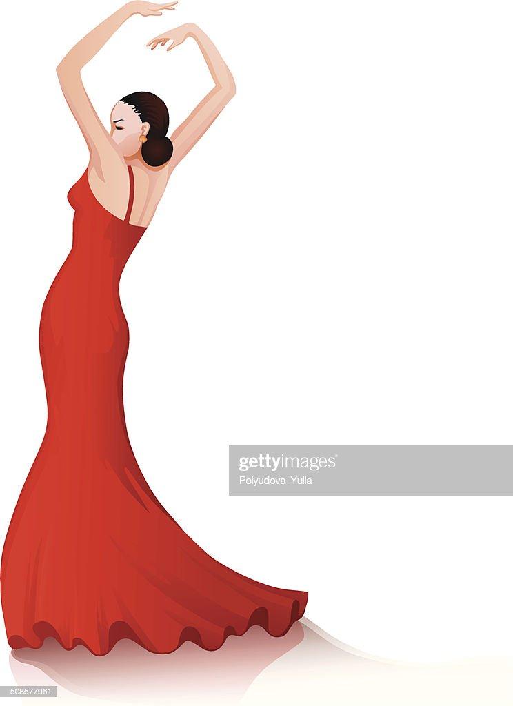 Flamenco dancing girl : Vector Art