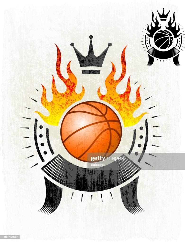 flaming basketball with badge on royalty free vector background