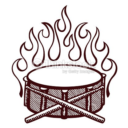 Flaming Drums Snare Drum With Sticks Logo Rockabilly Flames Vector Art