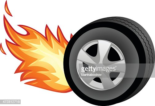 Flaming Tire Vector Art Getty Images