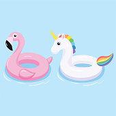 Flamingo and unicorn inflatable pool float. Vector illustration.
