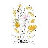 Fashion cute flamingo with hand drawn text. Can used for print design, greeting card, baby shower. Scandinavian style vector illustration.