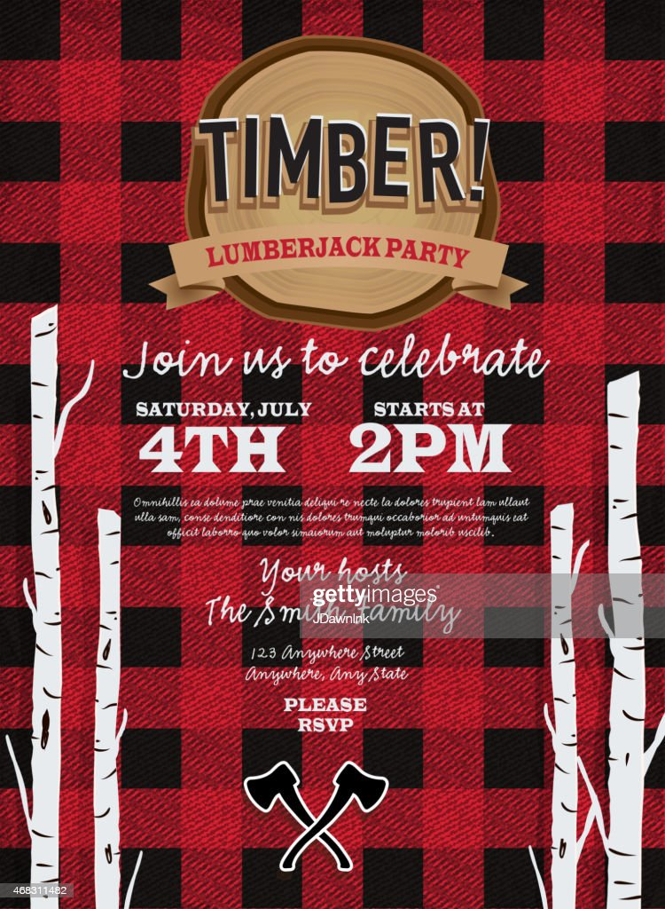 flannel red plaid lumberjack party invitation design