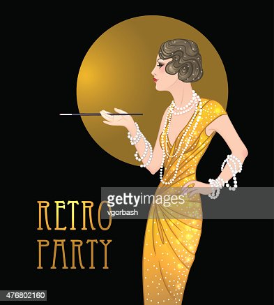 Flapper Girl Retro Party Invitation Design Template Great Gatsby